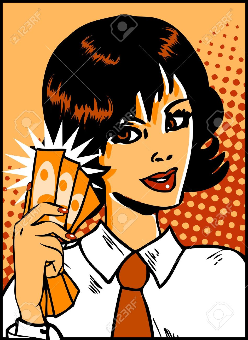 9631866-Pop-Art-Business-Woman-with-money-in-hand-Vintage-Comic-Background-Stock-Vector