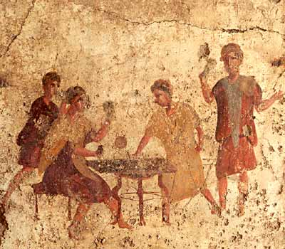 Wall-painting of men gambling from a bar on the Via di Mercurio, Pompeii