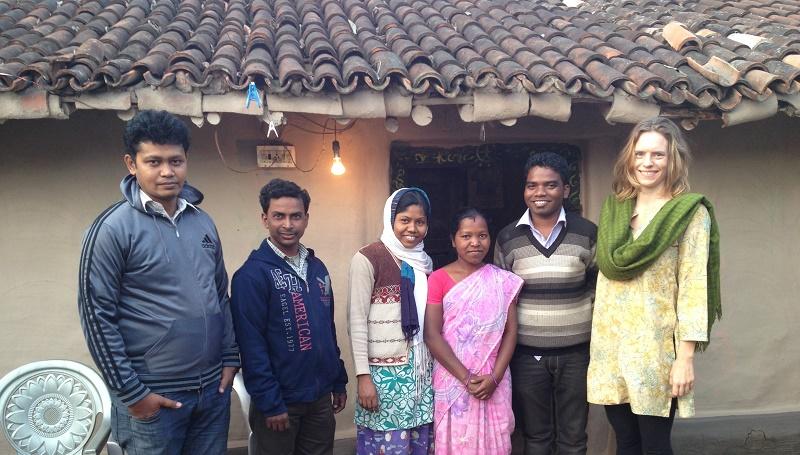 Jessica with Jharkhand team – L to R- Deepak Bara (Video Editor), Chunnu Hansda (CC), Basanti Soren (CC), Basanti's sister, Anand Hembrom (State Coordinator) and Jessica Mayberry