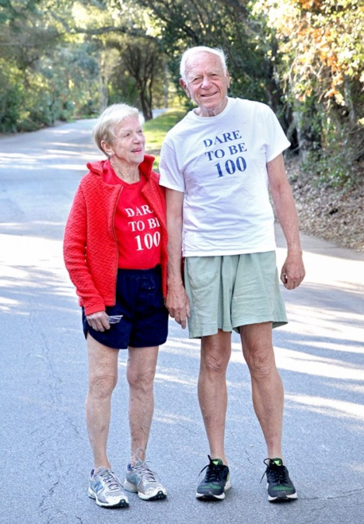 Ruth Anne and Walter Bortz. Walter has run 45 marathons and runs up to 18 miles a week