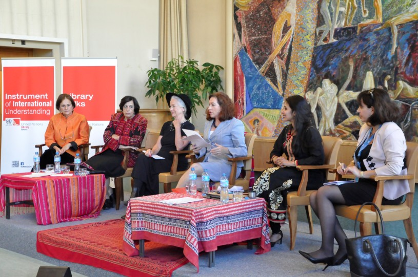 'Women's Strategies for Peace:' a panel of RWRW and World Future Council at the United Nations in Geneva for International Peace Day, 21 September 2015. left to right.Thais Corral (Brazil), Zahira Kamal (Palestine), Scilla Elworthy (UK), Maria Espinosa (Ecuador), Rama Mani (India/France), Anda Filip (Romania).