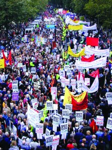 Protests against the invasion of Iraq were massive and worldwide. Above. London anti-war protest 2002.