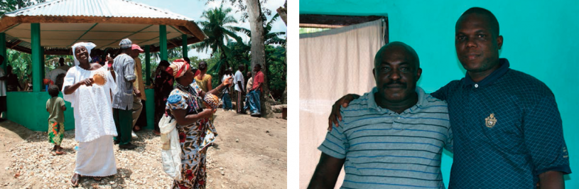 Left: Celebrating the dedication of the Peace Hut in Telowoyan Village. Right: Bethelson and Greene embrace after their reconciliation