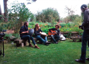 Andreas Hernandez captures video of original music in the Sacred Garden at Findhorn with Matt Bailie on Handpan, Nick Joyce on Drum and Jonathan Santos on Guitar. | photography Dot Maver