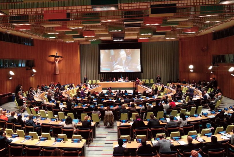 Secretary General of the UN, Ban Li Moon, opens the High Level Panel on the Culture of Peace, 2014.